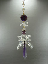 Gemstone Crystal Angel Sun Catcher Amethyst REAL Suncatcher