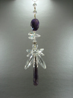 Crystal Angel Sun Catcher Amethyst REAL Large Winged Suncatcher