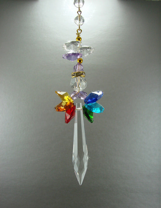 CHAKRA Crystal Angel Sun Catcher Hand Made PRIDE COLORS