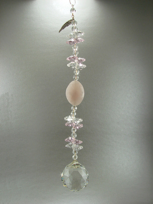 Crystal Ball String Suncatcher Custom Sun Catcher REAL Rose Quartz