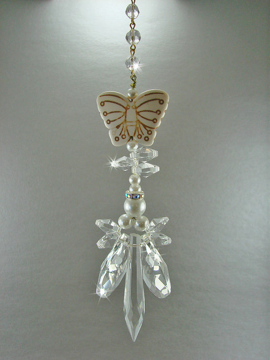 Crystal Angel Suncatcher Pearls and Butterfly Sun Catcher Large Winged