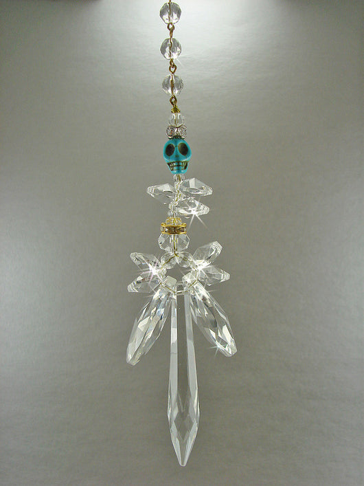 Crystal Angel Sun Catcher Turquoise Skull Large Winged