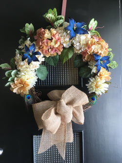 LARGE Wreath- Mother's Day Door Wreath - Gift for Mom- Country Door Wreath - Front Door Wreath -Wreath - Spring Summer Wreath