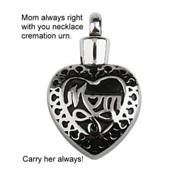 Mom or Dad Cremation Jewellery Necklace Urn This is for MOM