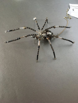 Pewter Gray Spider Stunning Beaded Crystal Hand Made Spider Suncatcher Totem Rear View Mirror Decor Christmas Spider