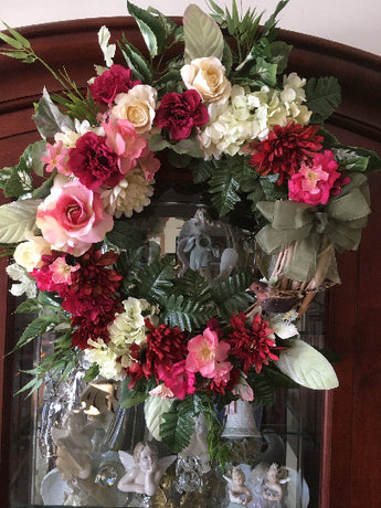 Country Roses Hyacinth Door Wreath - Mother's Day Door Wreath - Gift for Mom- Country Door Wreath - Front Door Wreath - Large Wreath - Spring Summer Wreath