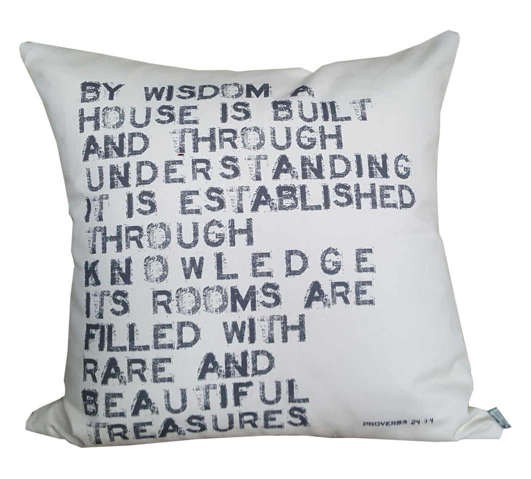 By Wisdom A House Is Built Proverbs Scripture Pillow