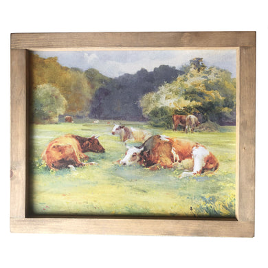 Cows in Pasture Framed Canvas