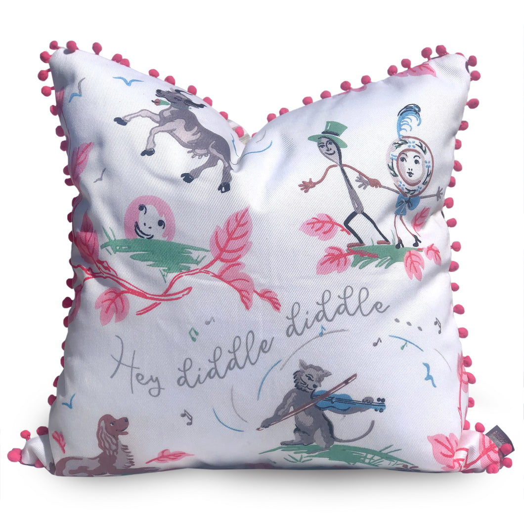 Nursery Rhyme Hey Diddle Diddle Vintage Style Pillow