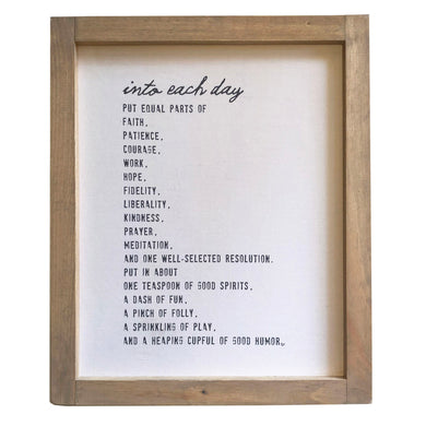 Into Each Day \\ Daily Recipe Framed Canvas