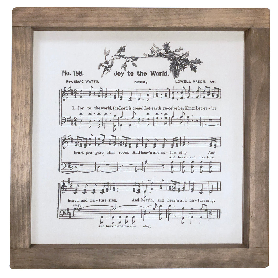 Joy To The World Music Framed Canvas