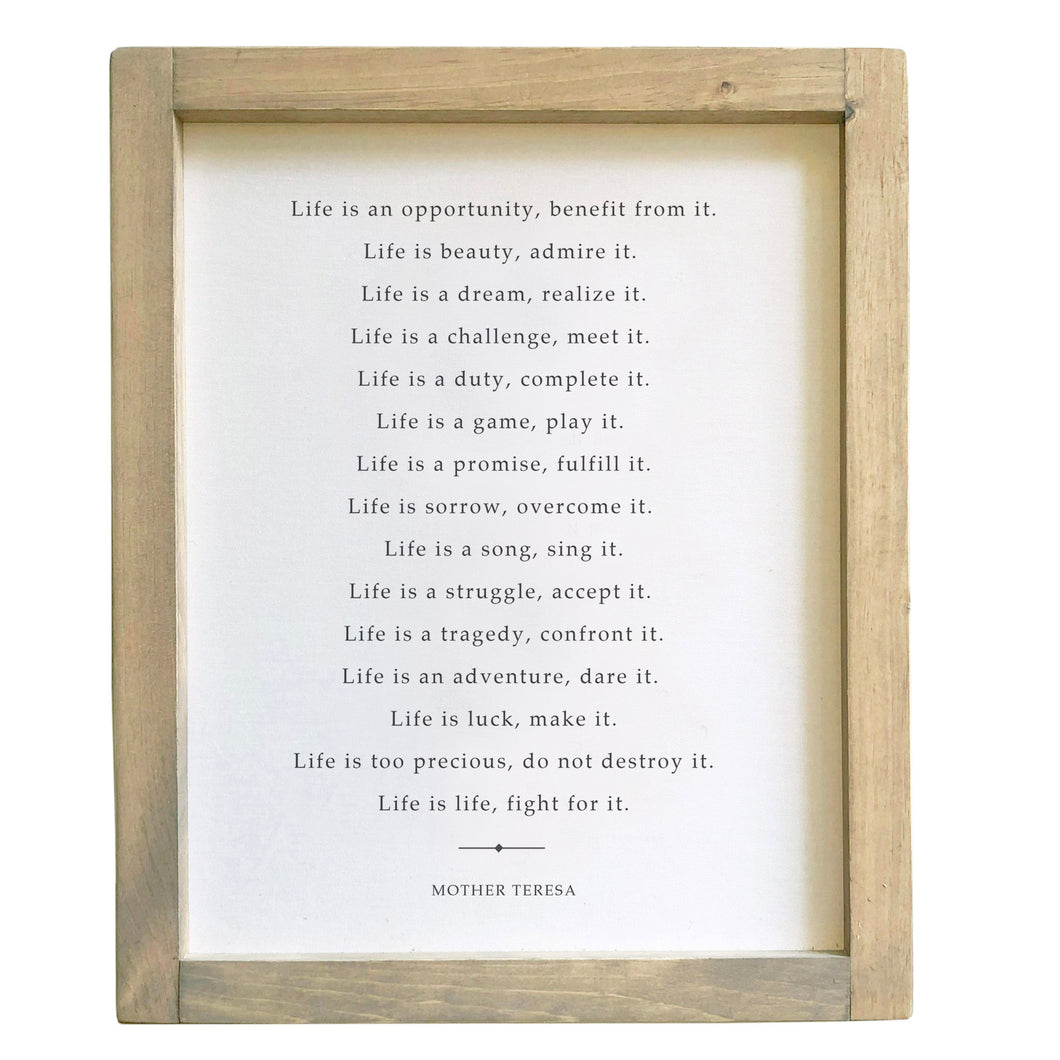 Life Is An Opportunity / Mother Teresa /  Framed Canvas