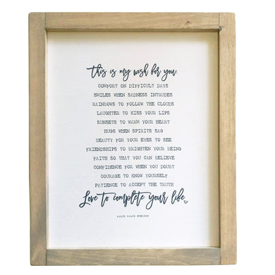My Wish For You \\ Ralph Waldo Emerson Quote Framed Canvas