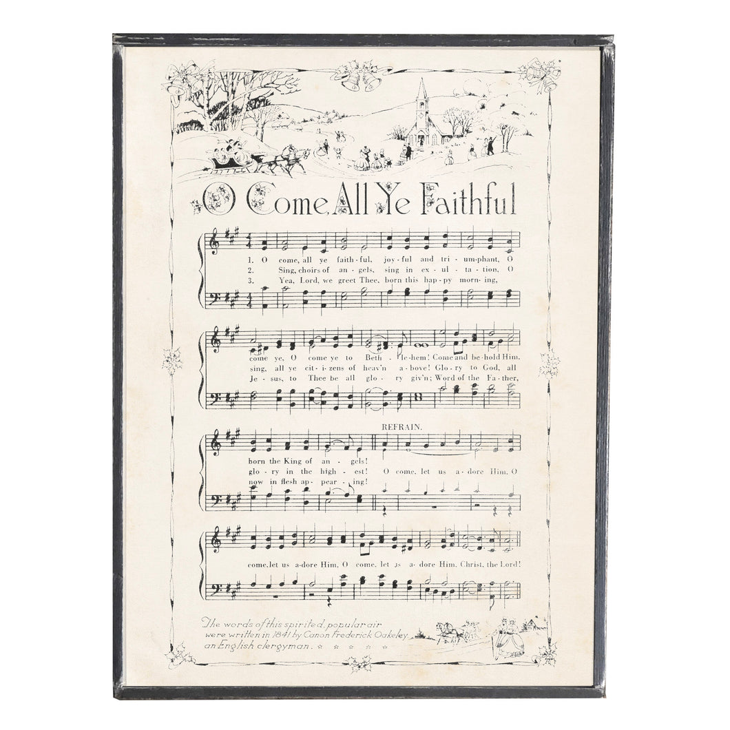O Come All Ye Faithful Hymn \\ Vintage Sheet Music \\ Vintage Style Framed Print