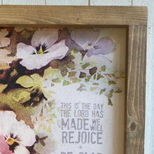 This Is The Day The Lord Has Made \\ Pansy Flower \\ Psalm 118:24  Framed Canvas