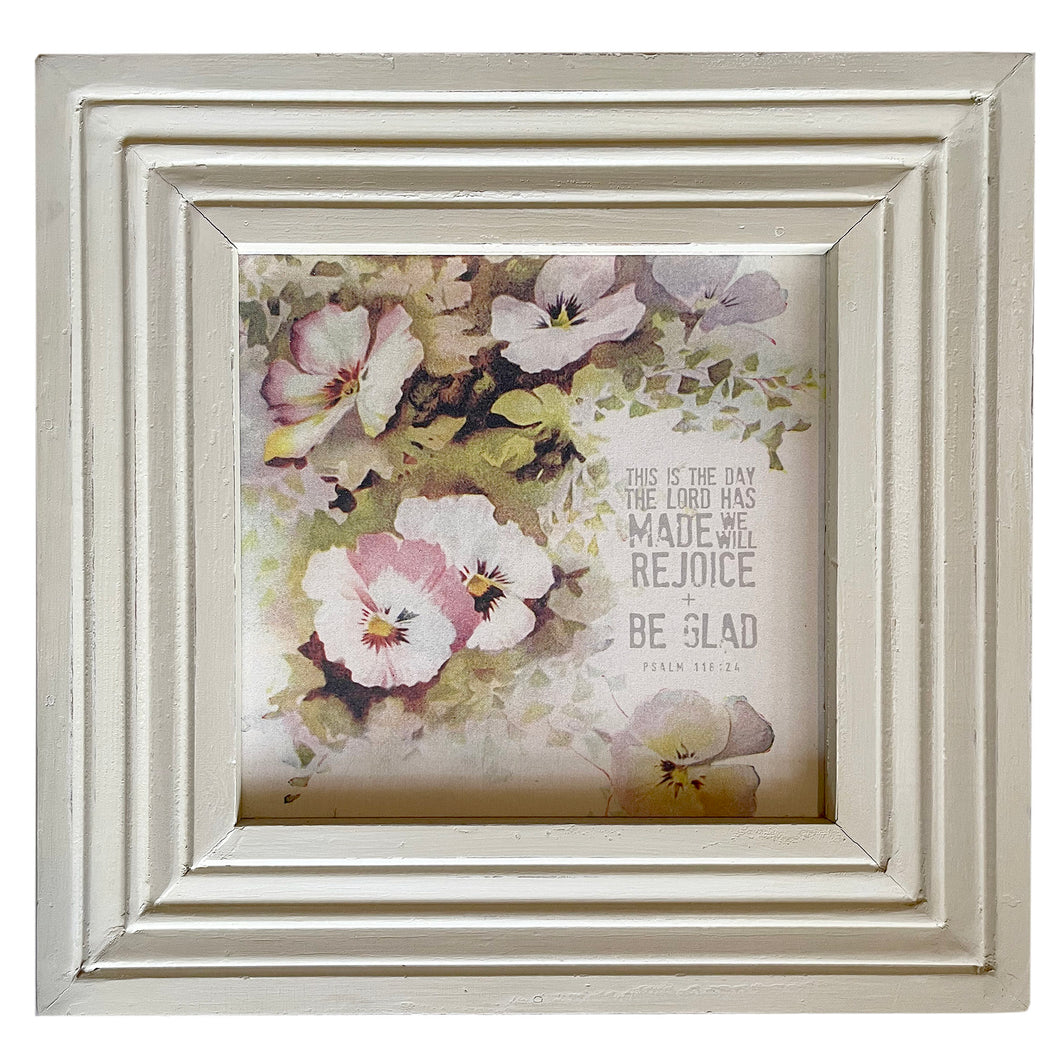 Rejoice and Be Glad / Pansies / Reclaimed Trim Frame Canvas / PICKUP ONLY