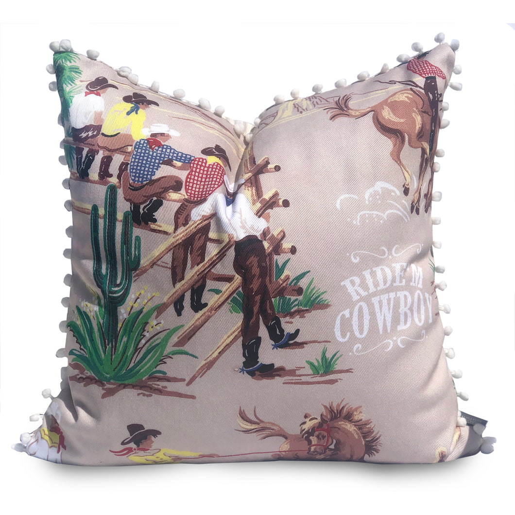 Ride'm Cowboy Ranch Vintage Style Pillow