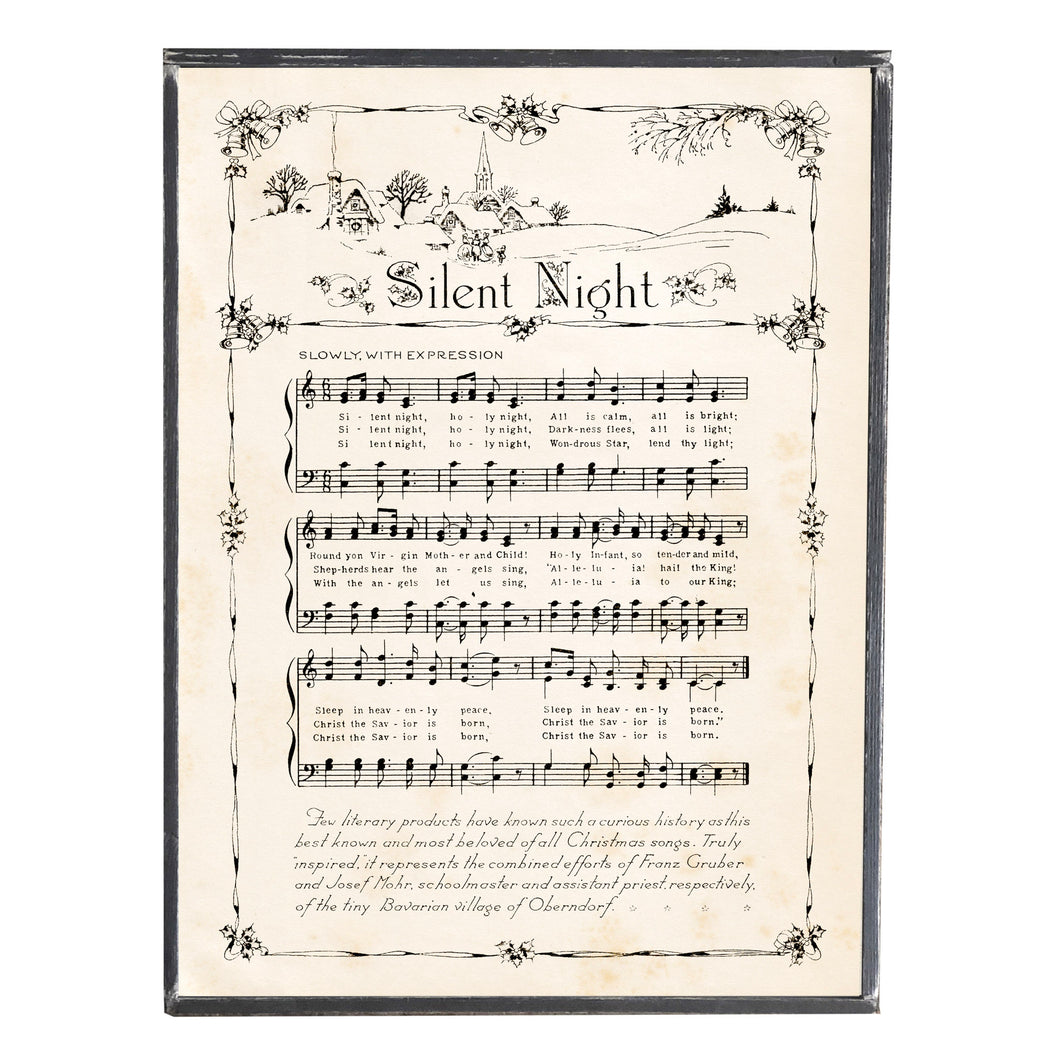 Silent Night Holy Night Hymn \\ Vintage Sheet Music \\ Vintage Style Framed Print