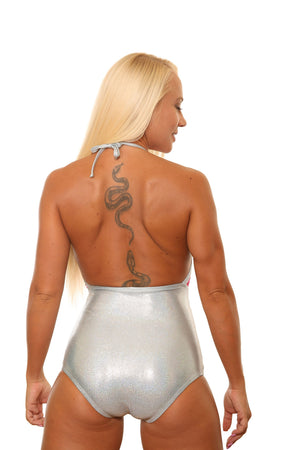 Stunning Fishnet Hot Silver Bodysuit