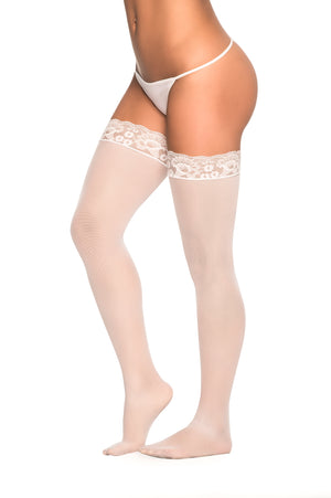 White Mesh Thigh Highs with Lace Design