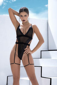 Exquisite Black Cinched Waisted Bodysuit