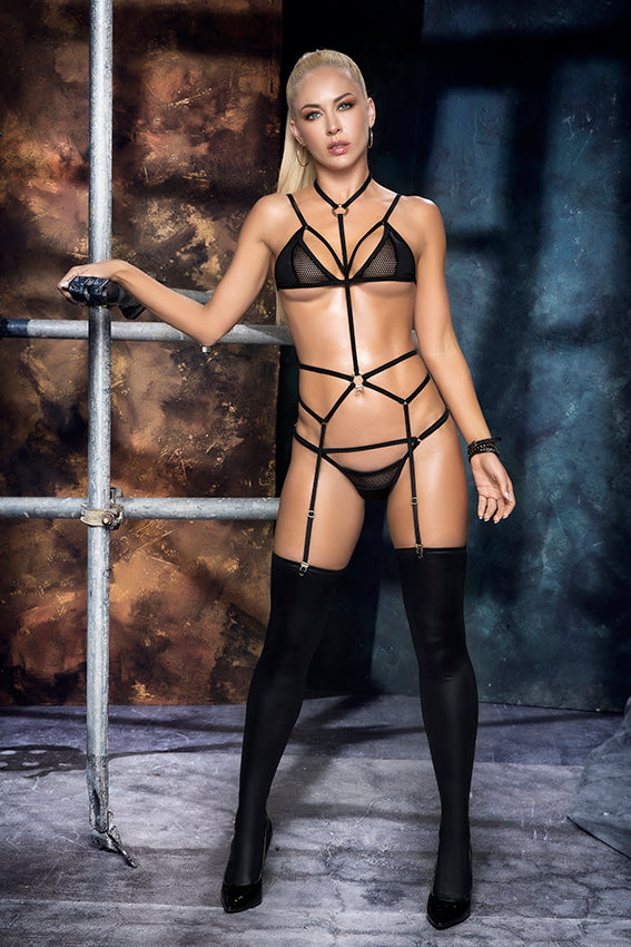 NEW Sexy 3pc Black Mesh Harness Crotchless Lingerie Set