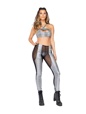 Two Tone Silver Black Sheer Snakeskin Rave Pants