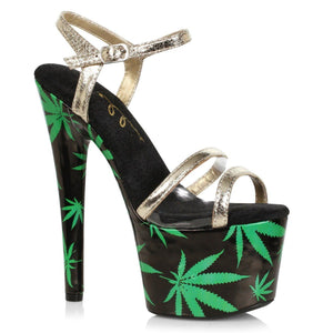 Gold Ankle Strap Sandal With 7 Inch Stiletto Heel-Weed Print Platform