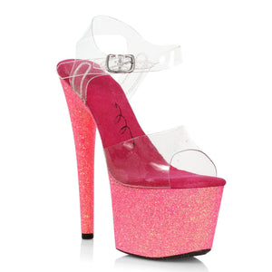 Pink Ankle Strap Sandal With 7 Inch Stiletto Heel
