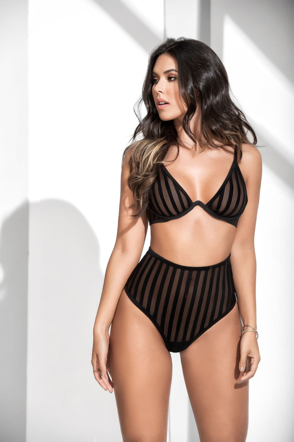 Classy Black Striped Two Piece Sheer Mesh Lingerie Set