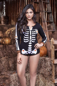 NEW SEXY LONG SLEEVED HALLOWEEN SKELETON LOUNGE ROMPER