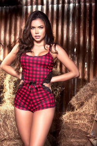 Sexy Red Plaid Laced Lounge Romper