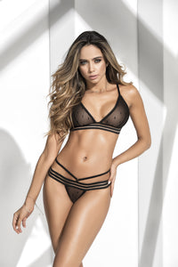 Beautiful Dotted Two Piece Black Mesh Bralette with Matching Thong Set