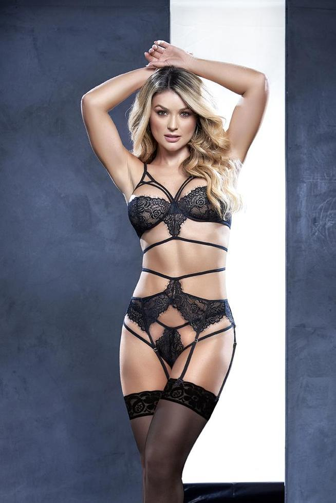 NEW Sexy 3pc Black Strappy Lace Lingerie Set