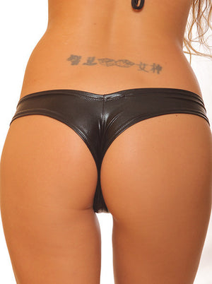 Metallic Black Pole Dancers Lycra Tiny Booty Shorts