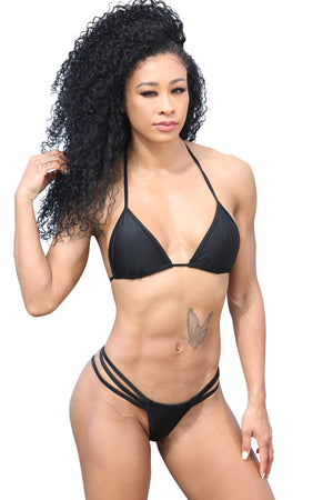 Sassy Assy Black Bikini Set With 3 Band G String Bottom