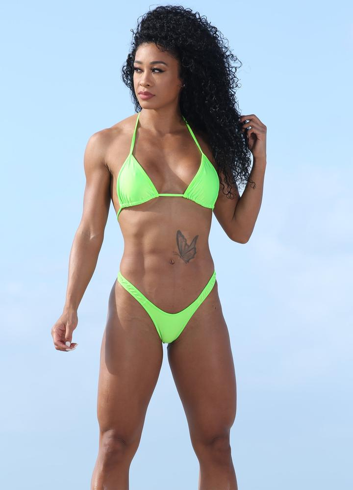 NEON GREEN CHEEKY BIKINI SET WITH HIGH CUT LEG BOTTOM