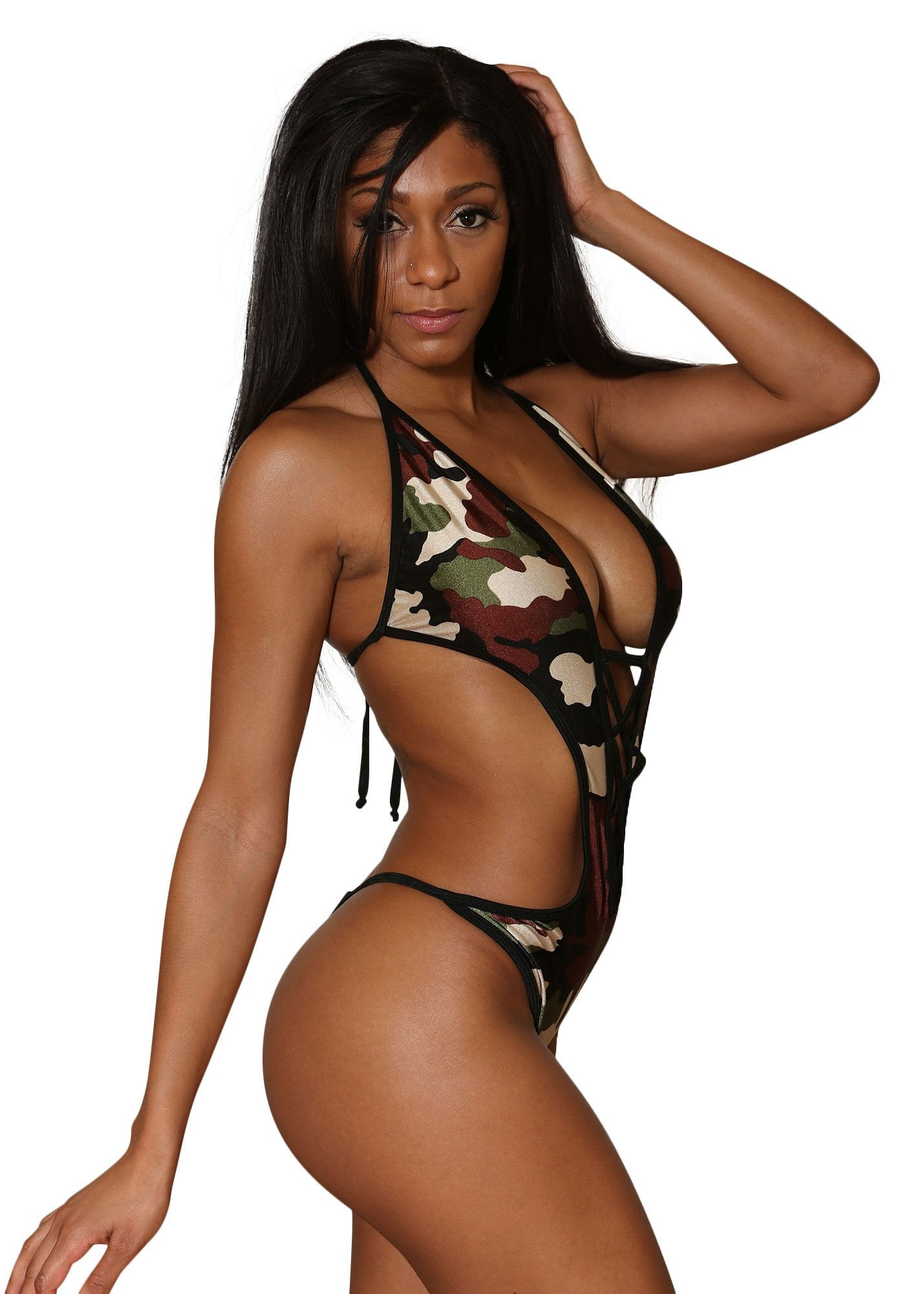 Sexy Camo Print Monokini With Thong Bottom