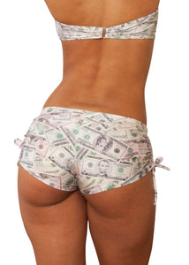 Cheeky Tie Side Money Print Shorts