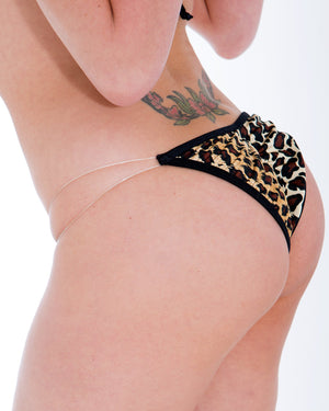 Clear String leopard Print Scrunch Bikini Bottom