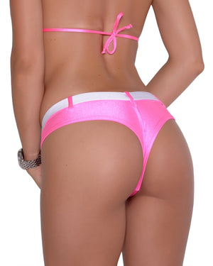 Cheeky Neon Pink Micro Booty Short With Faux Belt.
