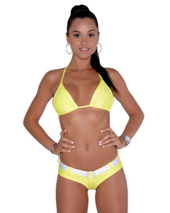 Cheeky Neon Yellow Micro Booty Short With Faux Belt.
