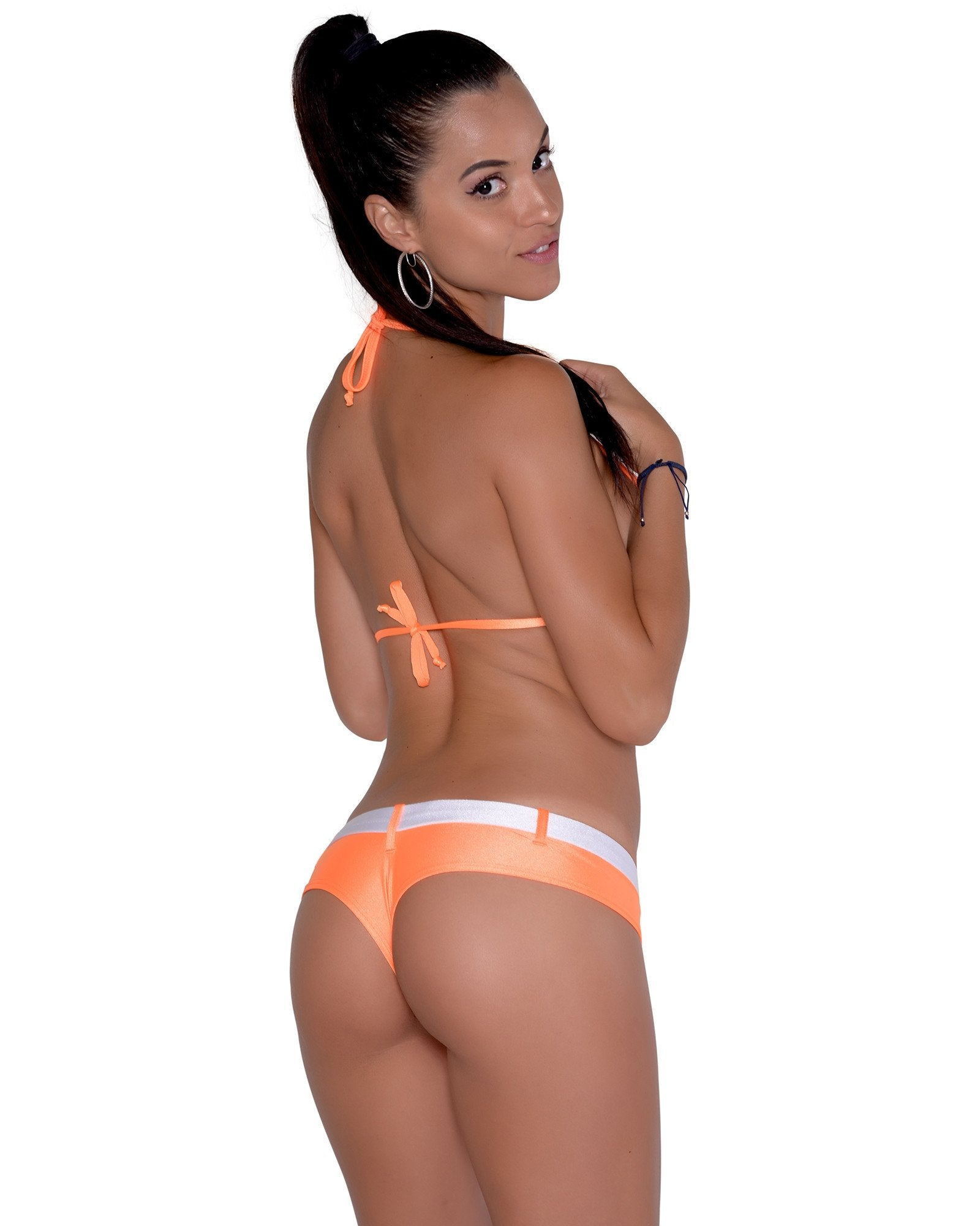 Cheeky Neon Orange Cheeky Micro Booty Short With Faux Belt.
