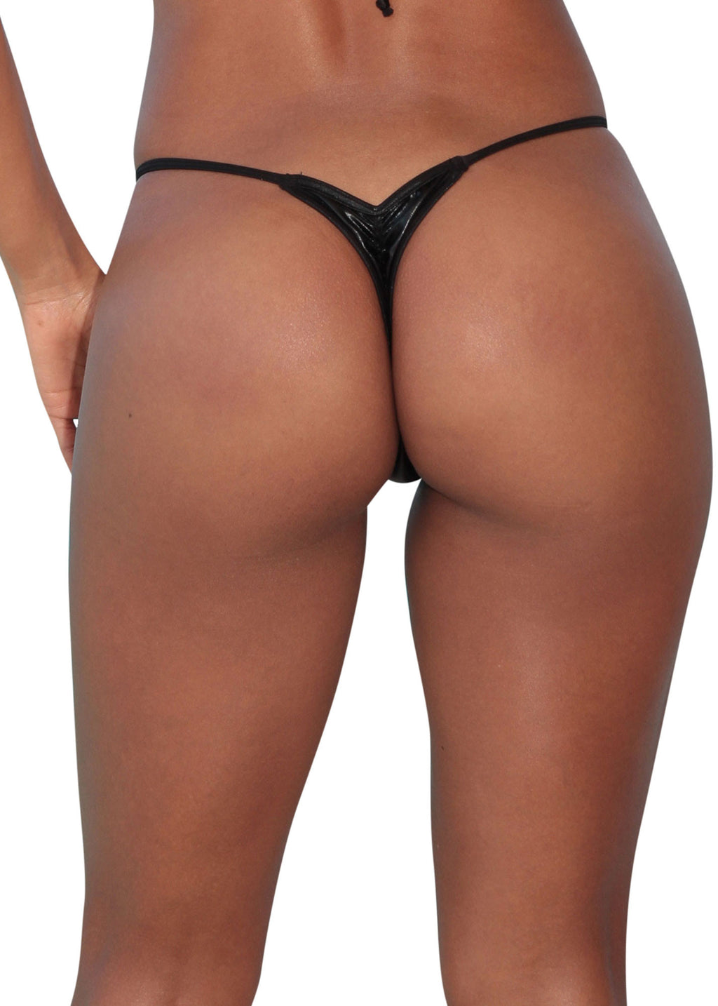 Metallic Black Scrunch Thong Bottom-Stripper Clothing