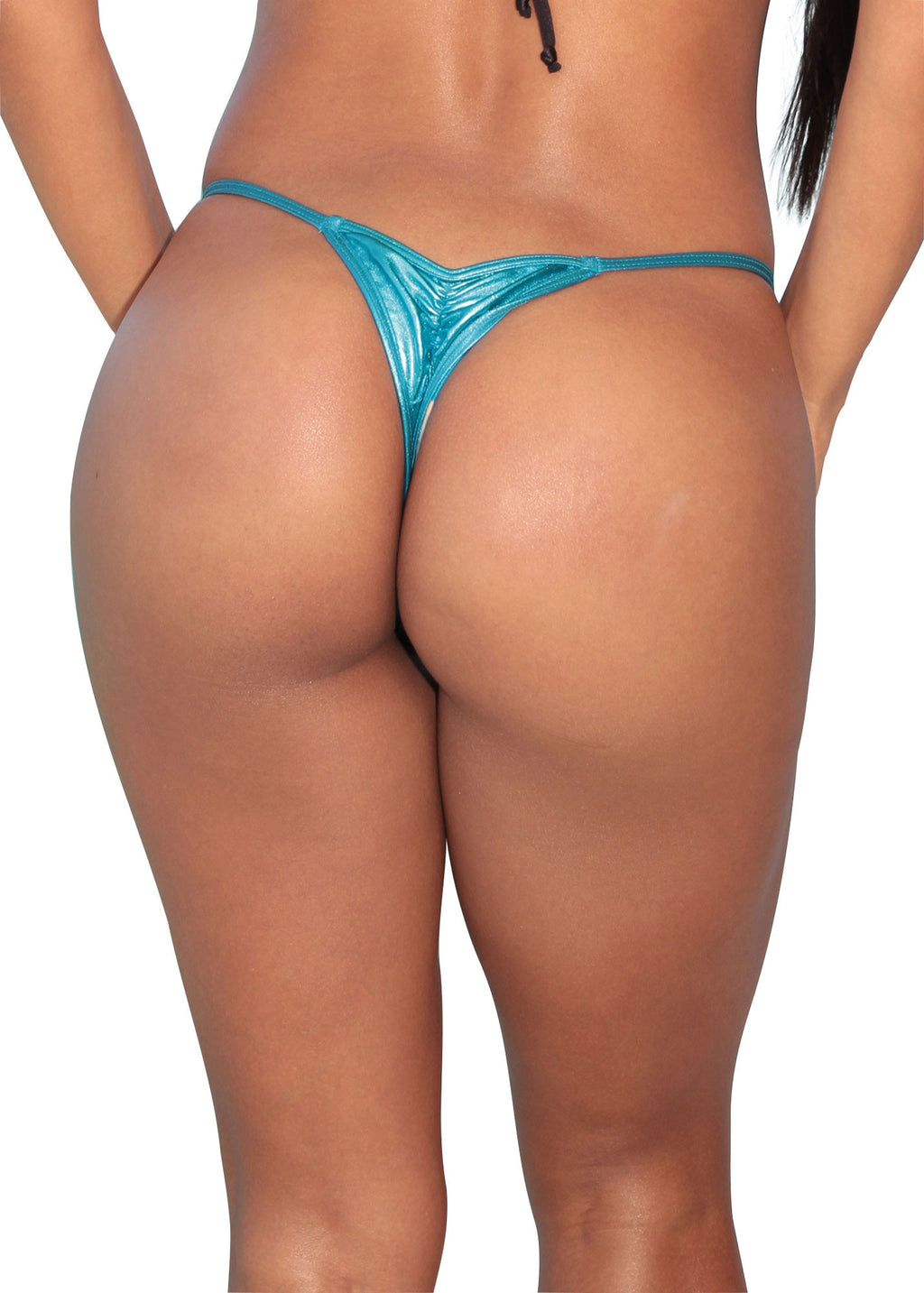 Metallic Blue Scrunch Thong Bottom-Stripper Clothing