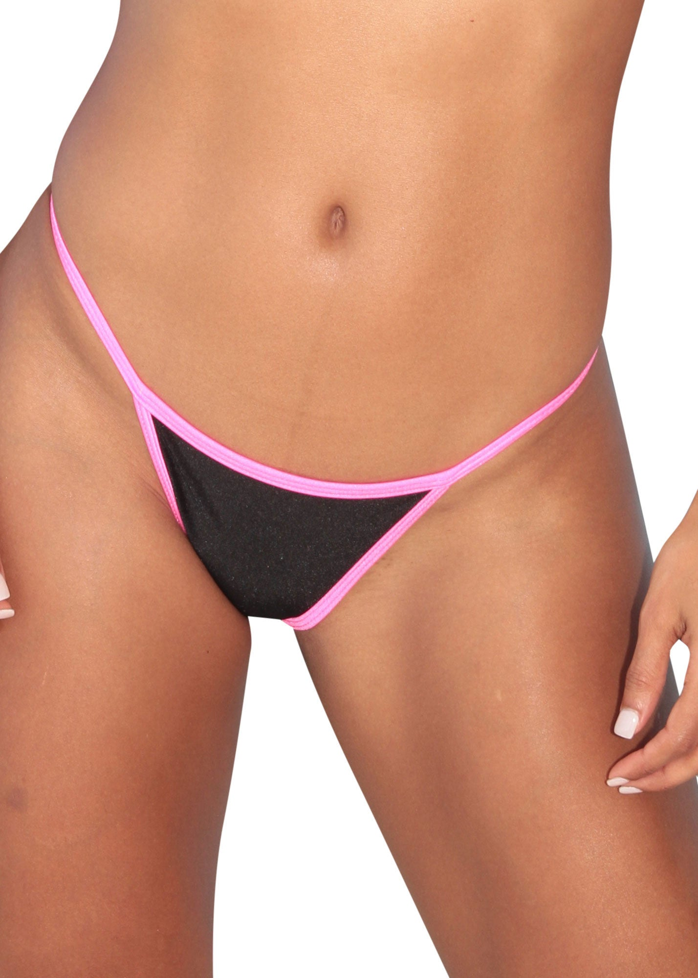 Black-Pink Trim Mini Scrunch Thong Bottom-Stripper Clothing