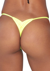 Neon Yellow Scrunch Thong Bottom-Stripper Clothing