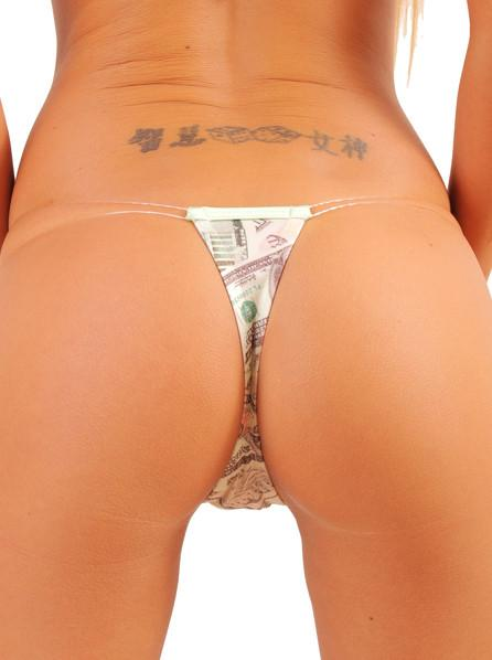 Money Print Clear String Stripper Chip Thong
