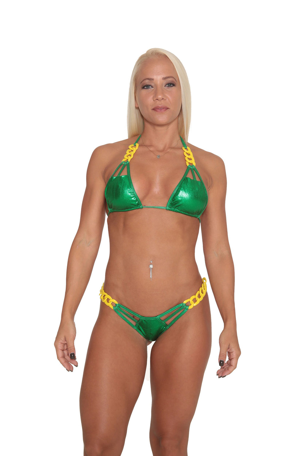 Kelly Green Metallic Bikini
