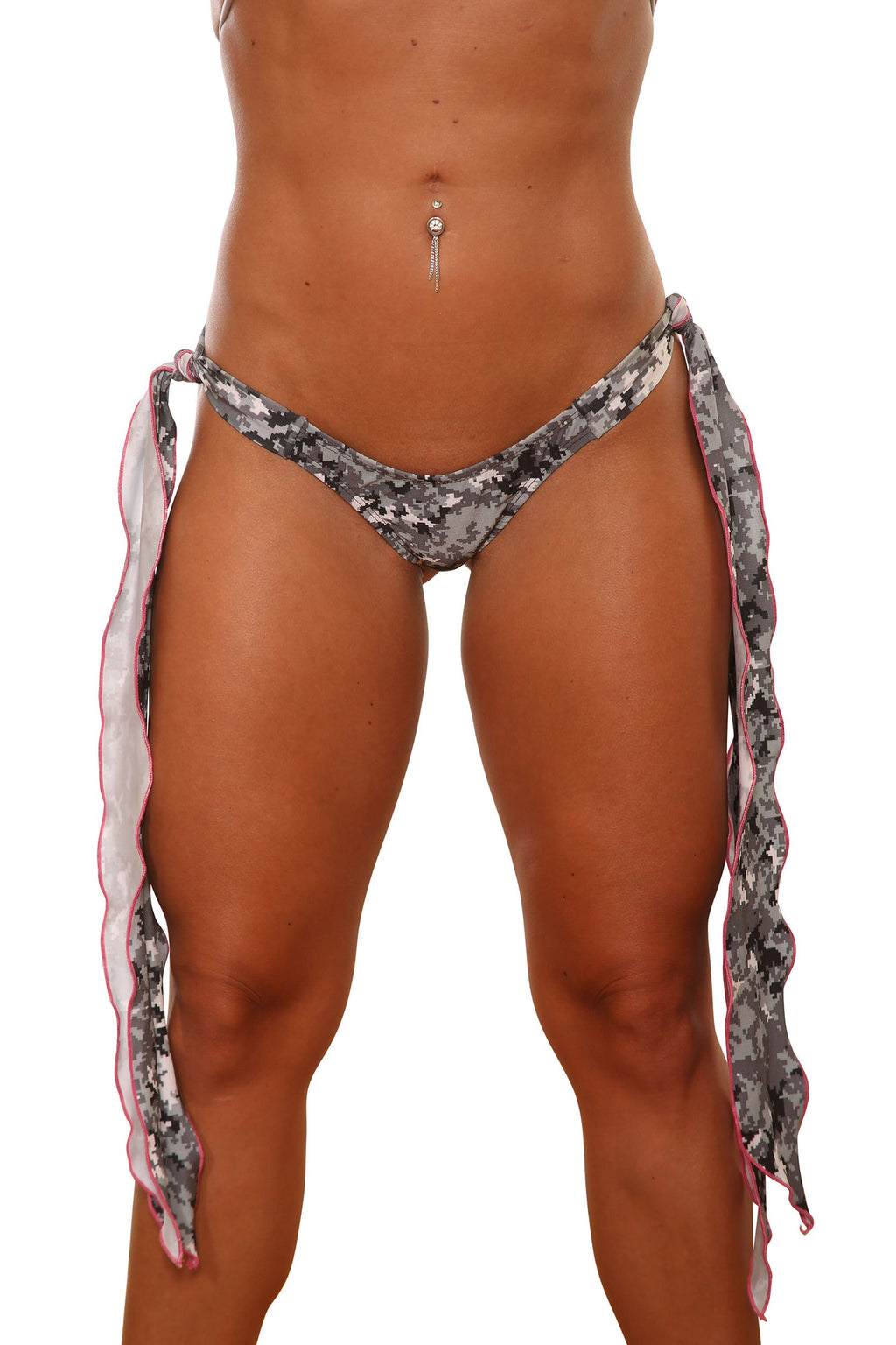 Long Ribbon Tie Side Camo Dancers Bottom Stripper Clothing